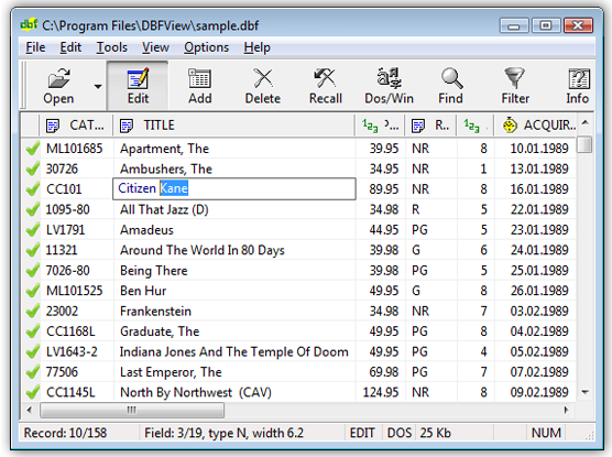 DBF File  Viewer full screenshot